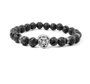 Branelli in pietra naturale Bracciali da uomo Lucky Charm Matte Black 8mm Bead Onyx Pietra Matt Tiger Leopardo Bracciali per uomini gioielli regalo GB854