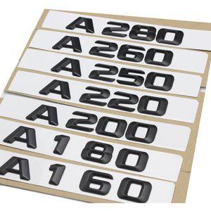 1set 아시아 검정색 A220 A280 트렁크 후면 부팅 엠블렘 로고 메르세데스 벤츠 A 등급 A160 A180 A200 A250 A260 용 배지 번호 글자