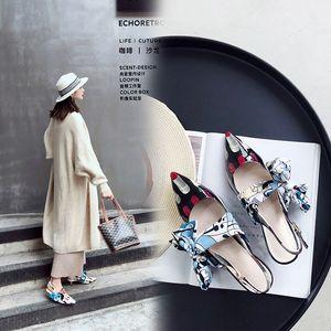 Pop2019 feine scharfe echtes Leder Sandalen Bogen Kreis Punkt mit Rom Schuh Grace Woman Schuhe