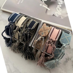 Designer de luxo Jóias Mulheres Homens Pulseiras Moda trançado pulseira borla 34 Estilo de alta qualidade amantes bordados Pulseira Designer