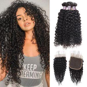 Paquetes de buena calidad Kinky pelo rizado con el encierro 3 paquetes 8A rizado brasileño de la Virgen rizada Malasia pelo de cabello humano con el encierro