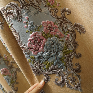 Cortinas en relieve en relieve en relieve Europea de alto grado Cortinas de la sala de estar marrón de la sala de estar de alta gama Blackout cortina de tela de tela llena de tela