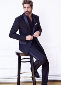 Yeni Geliş Groomsmen Lacivert Damat smokin Şal Saten Yaka Erkekler Suits Düğün En İyi Man Damat Blazer (Ceket + Pantolon + Kravat) L294