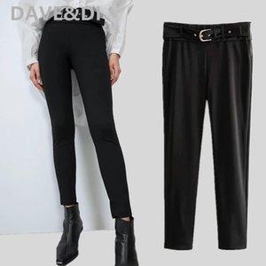 pantalones Davedi mujeres sólidos regulares fajas negras recta ninguno pantalones de mujer pantalon femme mujeres de los pantalones