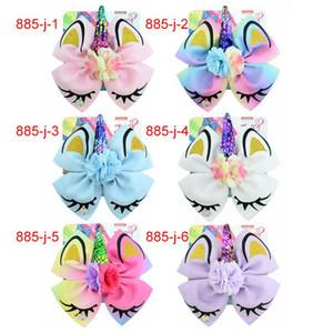 "8 ""JOJO Siwa Bow headband menina fita colorida Bow unicorn flores Menina menina Hairbands com JOJO cartão cabelo Unicorn partido cabelo arcos"