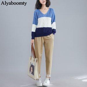 Style coréen Taille Plus Femmes Pull V Contraste cou couleur Patchwork lâche Jumper Vintage élégant automne Vêtements printemps Casual