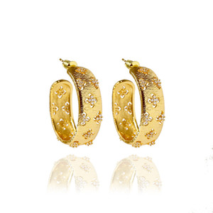 2020 new brushed face hollow four leaf flower small diamond earrings personality Retro fashion love for women charm gold earrings gift