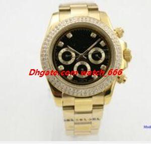 Новая версия 2 Цвета Мужская мода наручные часы 40мм 116508 116503 Серебро Золото Сталь Браслет Алмазный диск Автоматическая швейцарские часы Бесплатная доставка