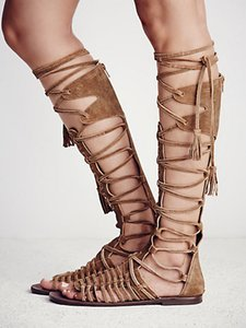 Women lace up sandalis boots Summer knee high boots boho style flat sandals cross tie gladiator shoes bohemia fringes flat heels cut outs