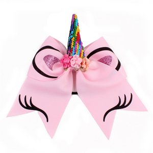 Unicorn Shape Cheer Hair Bows Large Colorful Ponytail Holder Elastic Hair Ties for Girls Women Party Favor RRA2311