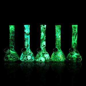 Brilhando no beaker escuro Bongo tubos de água colorido silicone bong rabada sonda shiasha hookah portátil
