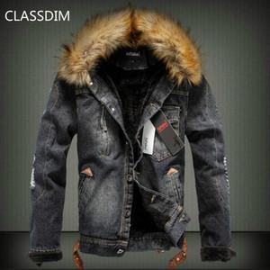 CLASSDIM Kış Sıcak Kot Ceketler Jean Coats Yeni Moda Erkekler Daha kalın Sıcak Denim Palto Erkekler Rasgele Jean Ceket