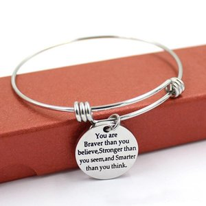 I più venduti braccialetti gioielli Inspirational lettering braccialetti con ciondolo sei più coraggioso di quanto credi braccialetti spedizione gratuita