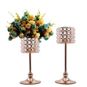 Romantico Titolare di cristallo Candeliere d'oro da sposa strass candela da tavolo Candelabri Centrotavola partito della casa di Candle Stand Decorazione