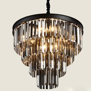 Lustres en cristal d'art de fer noir américain lustre lustre luminaires lampe de chambre à coucher, lampe de cristal gris fumée