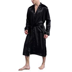 Men's Silk Satin Bathrobe Robe Long Solid Silk Pajamas Men Nightgown Sleepwear kimono homme Dressing Gown