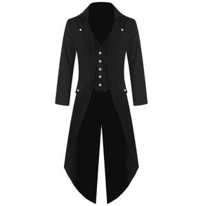 Haute qualité de vente en gros chaud hommes main Veste victorienne Frac Steampunk gothique Vampire Redingote Noir Ypf201