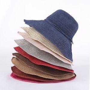 Kadın Moda Ilmek Hasır Şapka Yaz Katlanır El Yapımı Geniş Brim Cap Lady Zarif Seyahat Plaj Güneş Şapka LJJT807