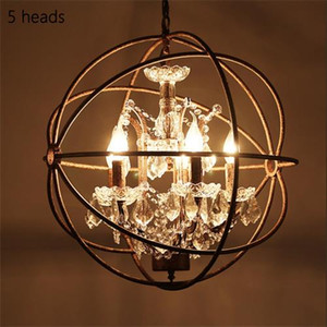 Rétro vintage lustres en cage de fer rouille E14 grand style lustre en cristal lustre lampe LED Éclairage pour salon bar de la chambre