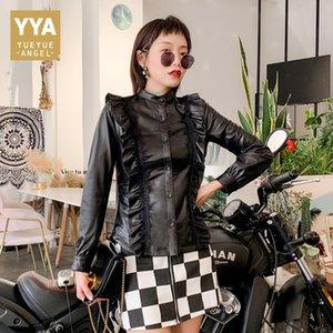 2019 Office Lady 우아한 프릴 Genuine Leather Jackets Women Black Slim Luxury 양피 Real Leather Jacket 코트 Streetwear