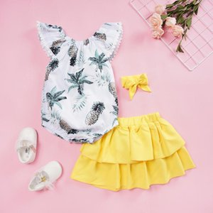 New 3pcs 3-24M Baby Summer Cotton Casual Clothes Set fashion Kid Girls Print Rompers+Solid Color Skirts+Bowknot Hairband#37