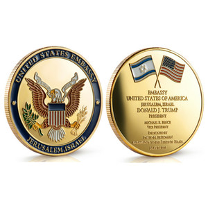 Dedicato 14 maggio 2018 - Israel Jerusalem United States Embassy Trump Challenge Coin