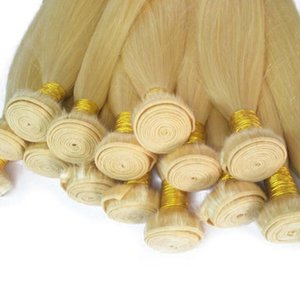 Indian Hair 613# Blonde Color 3 Bundles 3 Pieces lot Straight Human Hair Extensions Double Wefts Weaves Straight wave 10-30inch