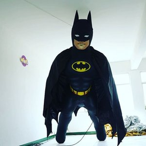 3m High Black Giant Inflatable Batman With LED Strip For City Parade or Party Show Decoration