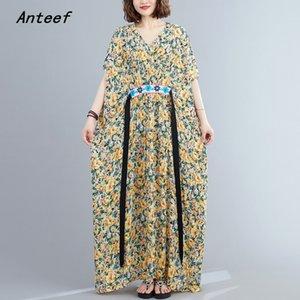 cotton satin plus size vintage floral women casual loose maxi long summer beach dress elegant clothes 2020 ladies dresses