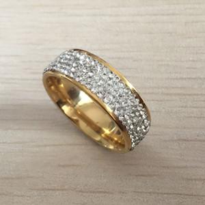 Joyería de moda de los anillos de boda del acero inoxidable del cristal transparente del tamaño completo 5 filas Hecho con los cristales auténticos de la CZ para las mujeres