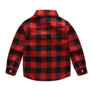 Children's Clothes Autumn Lapel English Wind Boys Cotton Material Long Sleeves Flannel Lattice Shirt Cardigan 0201
