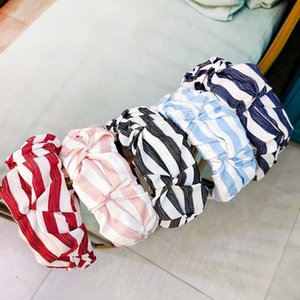 Korean Vintage Striped Women Hair Hoop Pleated Ruffle Wrinkled Wide-Brimmed Bandana Wash Face Summer Decorative Headband