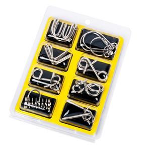 금속 중국 퍼즐 반지 9 개의 링 연동 세트 링크 미니 어린이 교육 완구 성인 어린이 보드 게임 8pcs / 세트 DLH195