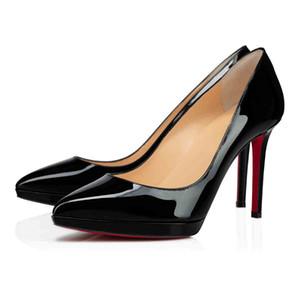 New Einfache Damen Pumpe rote untere Frauen-Schuh-Plattformen Pigalle Plato Schwarz Nude Lackleder-rote Sohle-Absatz-Pumpen-Partei-Kleid-Schuhe
