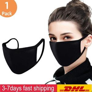 EEUU Stock ajustable máscara anti polvo facial de algodón Negro para completar un ciclo recorrido que acampa, 100% algodón lavable máscaras de tela reutilizables