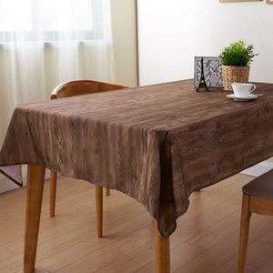 Simulation Wood Grain Tablecloth Washable Table Cover For Home Coffee Table Decor Dining Cloth Rectangular Square