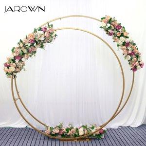 JAROWN Yeni Ferforje Çift Yüzük Arch Çiçek Gül Çiçek Row Düğün Yapay Çiçekler Arkaplan Dekorasyon Standı