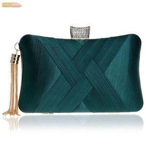 Womens Evening Clutches Bags Silk Satin Party Handbags Bridal Wedding Prom Purses With Tassel Pendant,Dark Green