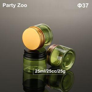 Parlak GoldBlack Vida Alüminyum Cap Katı Parfüm Konteyner 25cc Tozlarından ile Yeşil Krem Jar boşaltın 25ml Tin Şişe