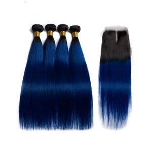 Silanda волос Ombre Цвет #T 1B / Голубой Straight Remy человеческих волос Уток 3 переплетений Связки С 4X4 шнурка Закрытие Бесплатная доставка