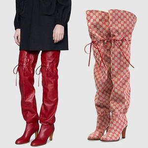 Lujo de primavera sobre la rodilla botas de las mujeres del talón del dedo del pie cuadrado de caña alta Botas Mujeres Ronda de tiras de moda 2020 zapatos de las mujeres del invierno Y200115