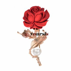 Yoursfs Red Rose Brooch Pin Rose Flower Brooch Resin GP Faux Pearl Decorative Garment Dress Women Jewelry Gift
