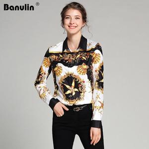 Banulin Modedesigner Herrliche Print Luxus Runway Blusen Hemd 2018 neue Frühlings-Herbst-Frauen Langarm-Shirt Camisas Tops
