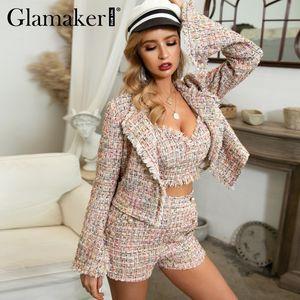 Glamaker Lurex abrigo de tweed chaqueta corta de las mujeres del otoño de tres piezas de la oficina chaqueta de invierno elegante chaqueta atractiva llamarada de la manga ropa exterior CJ191201