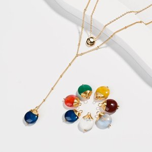 BeUrSelf Chic Crystal Necklace Multilayered Color Stone Drop Chocker Women Jewelry Summer Beach Ins Style Handmade Dropshipping