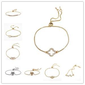 Moda Donna Trifoglio Cristallo placcato oro Charm Bracciale Bangle Bracciale Accessori moda Braccialetti Bracciale in cristallo