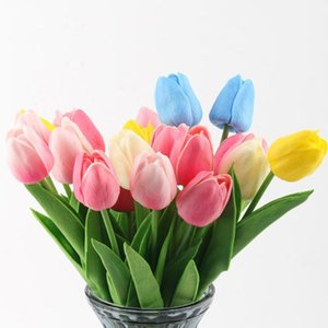 30pcs Artificial Tulip Flowers Real Touch PU Tulip Bouquet Home Wedding Party Office Decoration