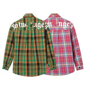 2020er plam icon Hochwertige hohe Auflage Plaid Shirt Palme englischen Alphabet Druck Revers Langarm-Shirt Herbst S-XL qwdzz7JYK #
