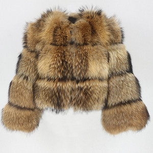Oftbuy 2020 New Winter Jacket Women Big Fluffy Real Fur Coat Natural Raccoon Fur Thick Warm Outerwear Streetwear Removable Vest