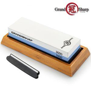 Точилка для ножей Премиальный точильный камень Нож для заточки двухсторонней крошки 1000/3000 Water Stone Bamboo Base Угловой держатель направляющих